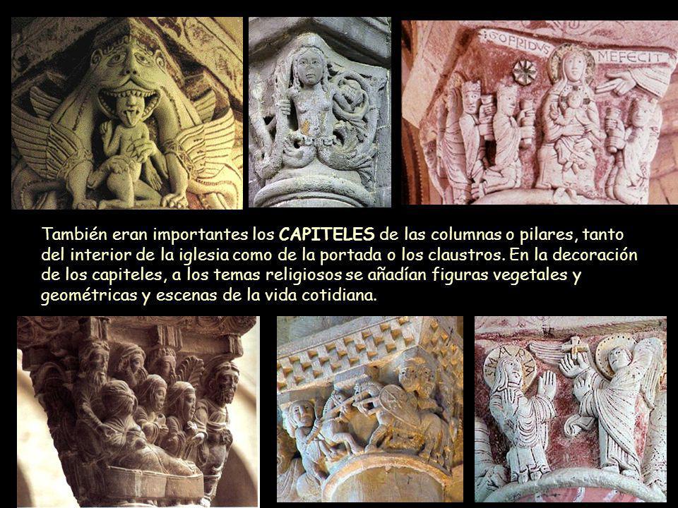 También eran importantes los CAPITELES de las columnas o pilares, tanto del interior de la iglesia como de la portada o los claustros. En la decoració