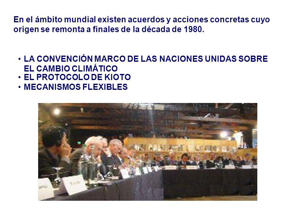 En el ámbito mundial existen acuerdos y acciones concretas cuyo origen se remonta a finales de la década de 1980. LA CONVENCIÓN MARCO DE LAS NACIONES
