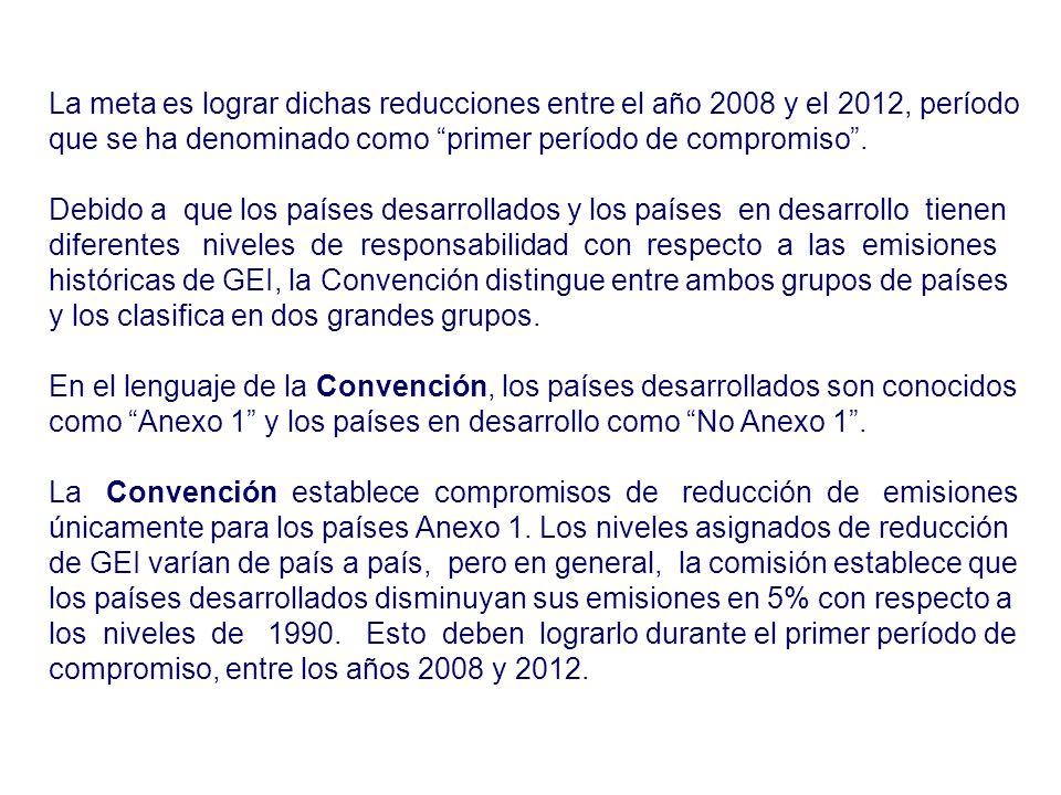 La meta es lograr dichas reducciones entre el año 2008 y el 2012, período que se ha denominado como primer período de compromiso. Debido a que los paí