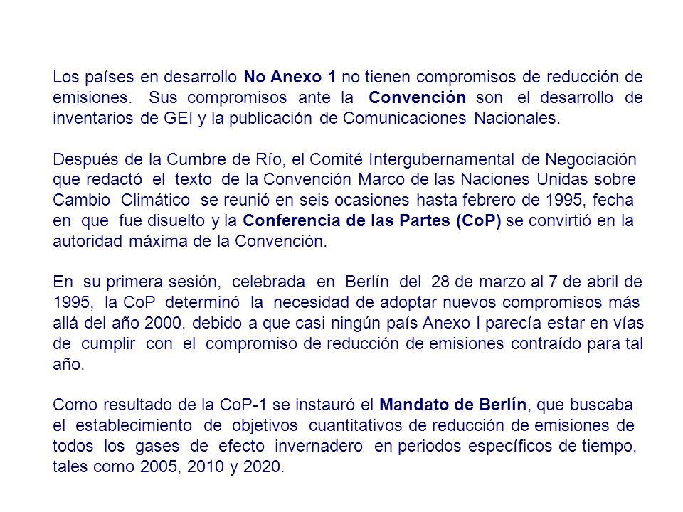 Los países en desarrollo No Anexo 1 no tienen compromisos de reducción de emisiones. Sus compromisos ante la Convención son el desarrollo de inventari