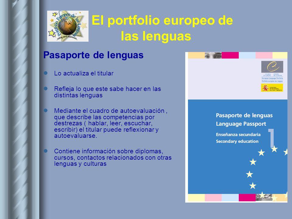 El portfolio europeo de las lenguas Pasaporte de lenguas Lo actualiza el titular Refleja lo que este sabe hacer en las distintas lenguas Mediante el c