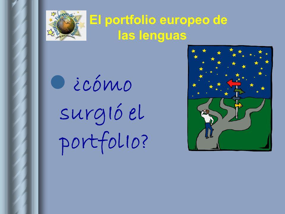 El portfolio europeo de las lenguas El portfolio tiene tres partes: 1.Pasaporte 2.
