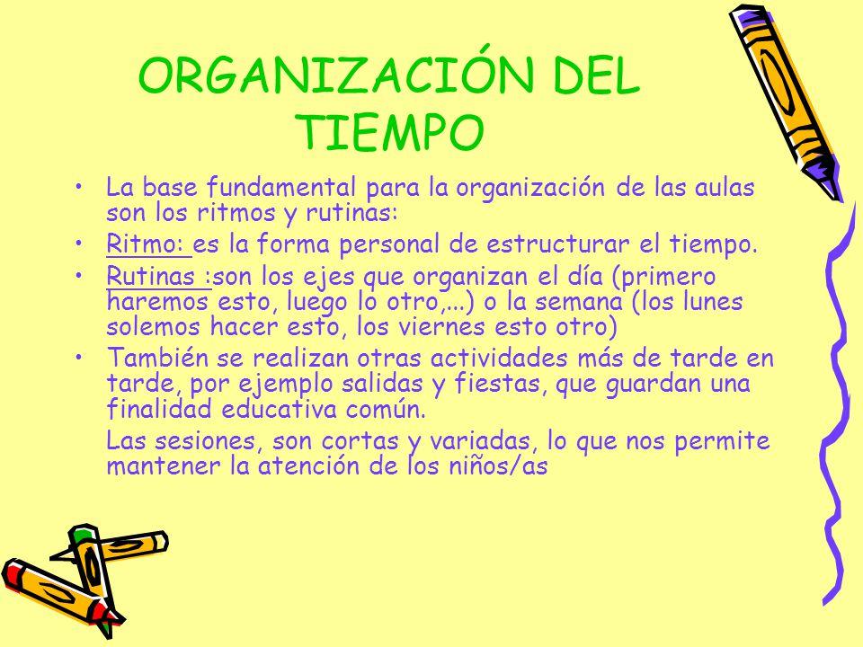 ORGANIZACIÓN DEL TIEMPO La base fundamental para la organización de las aulas son los ritmos y rutinas: Ritmo: es la forma personal de estructurar el