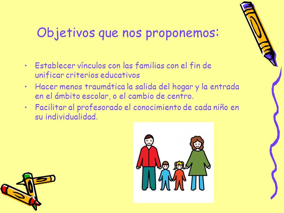 Objetivos que nos proponemos : Establecer vínculos con las familias con el fin de unificar criterios educativos Hacer menos traumática la salida del h