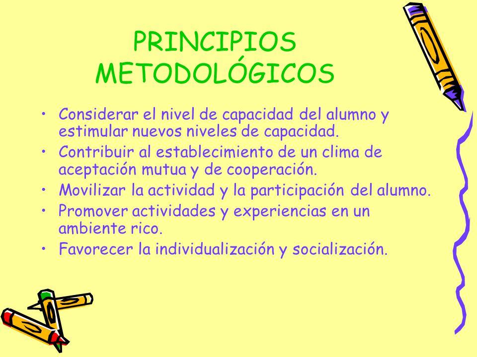 PRINCIPIOS METODOLÓGICOS Considerar el nivel de capacidad del alumno y estimular nuevos niveles de capacidad. Contribuir al establecimiento de un clim