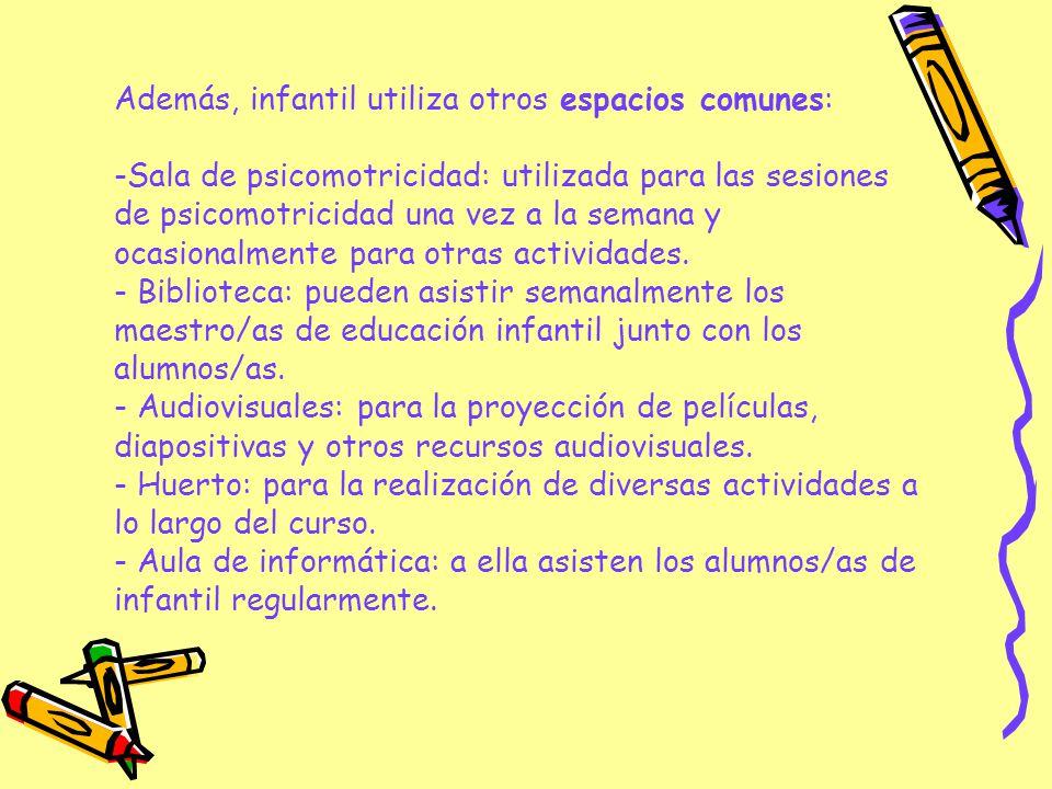 Además, infantil utiliza otros espacios comunes: -Sala de psicomotricidad: utilizada para las sesiones de psicomotricidad una vez a la semana y ocasio