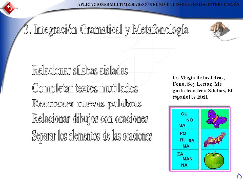 APLICACIONES MULTIMEDIA SEGÚN EL NIVEL LINGÜÍSTICO DE INTERVENCIÓN La Magia de las letras, Fono, Soy Lector, Me gusta leer, leer, Sílabas, El español es fácil.