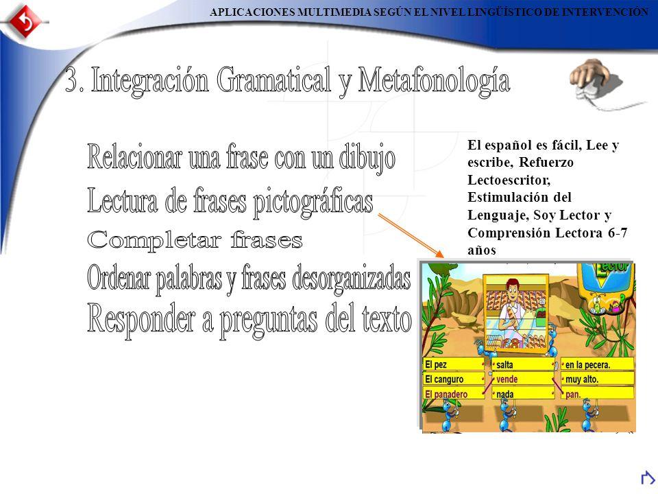 APLICACIONES MULTIMEDIA SEGÚN EL NIVEL LINGÜÍSTICO DE INTERVENCIÓN El español es fácil, Lee y escribe, Refuerzo Lectoescritor, Estimulación del Lengua