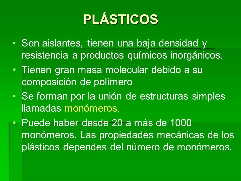 Policloruro de vinilo (PVC) El monómero utilizado en la fabricación de PVC es el Cloruro de Vinilo, que se obtiene del etileno y ácido clorhídrico.