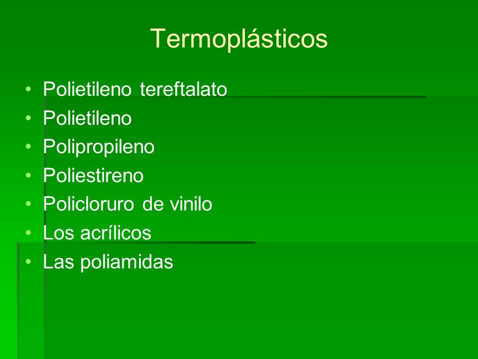 Polietileno tereftalato (PET) Se obtiene a partir de etilenglicol y ácido tereftálico mediante policondensación: (cuando los monómeros tienen más de dos grupos reactivos).