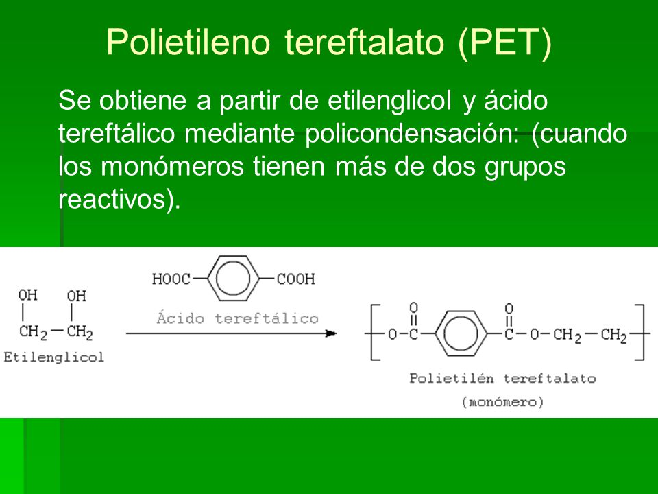 Poliuretanos (PUR) El grupo que se polimeriza es: (-R2-O-CO-NH-R1-NH-CO-O-R2-)n donde R1 del diisocianato alifático o aromático.
