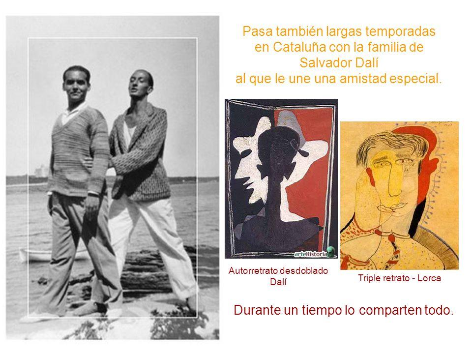 Pasa también largas temporadas en Cataluña con la familia de Salvador Dalí al que le une una amistad especial. Autorretrato desdoblado Dalí Triple ret