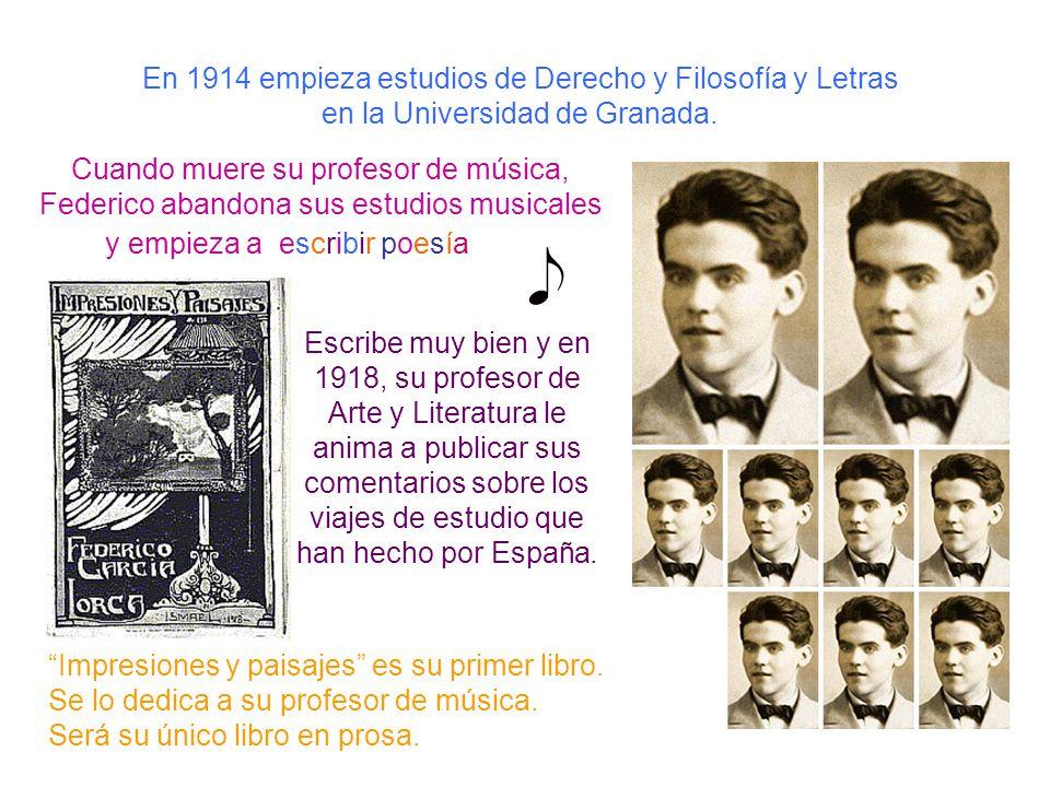 En 1914 empieza estudios de Derecho y Filosofía y Letras en la Universidad de Granada. Escribe muy bien y en 1918, su profesor de Arte y Literatura le