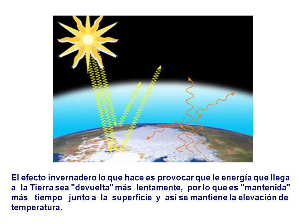 El efecto invernadero lo que hace es provocar que le energía que llega a la Tierra sea