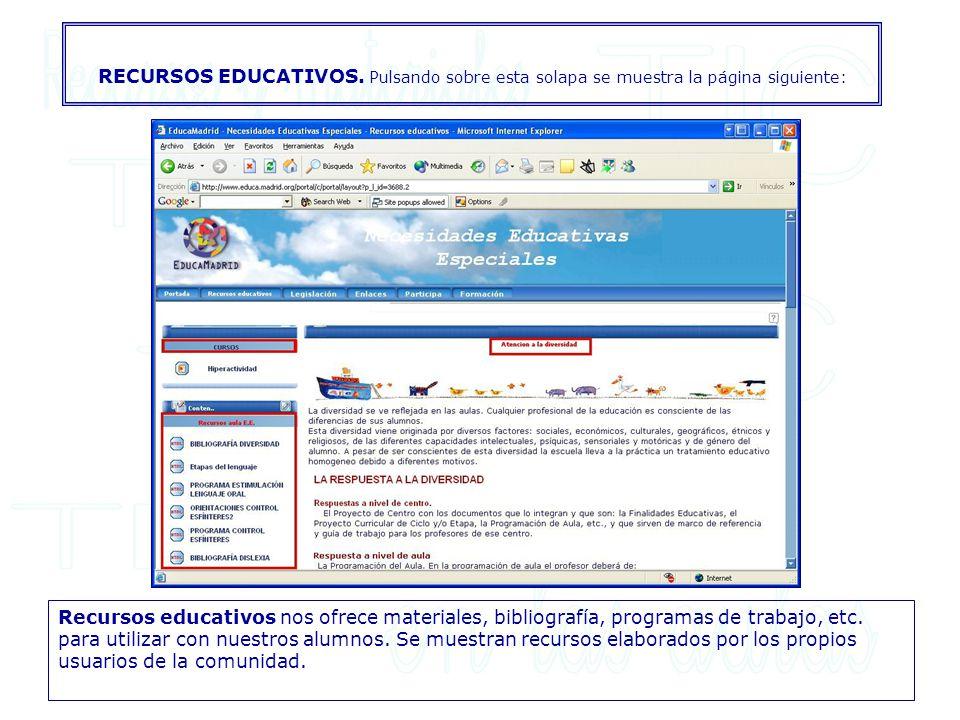 RECURSOS EDUCATIVOS. Pulsando sobre esta solapa se muestra la página siguiente: Recursos educativos nos ofrece materiales, bibliografía, programas de