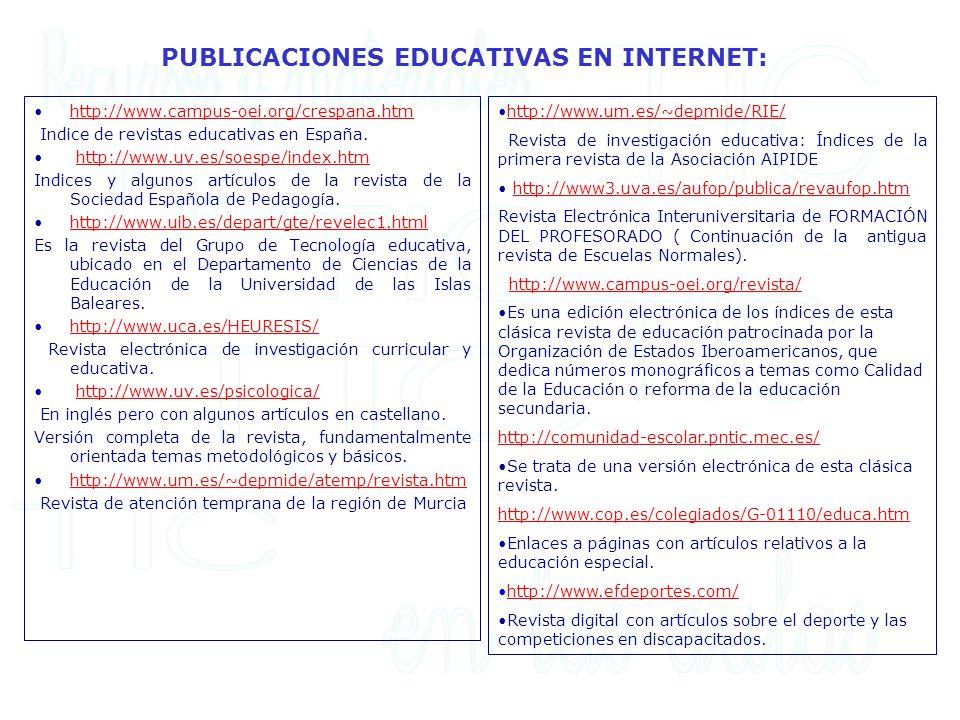 PUBLICACIONES EDUCATIVAS EN INTERNET: http://www.campus-oei.org/crespana.htm Indice de revistas educativas en España. http://www.uv.es/soespe/index.ht