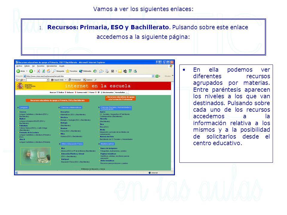 Pulsando sobre: Enlaces a páginas sobre las Necesidades Educativas Especiales:accedemos a una relación de páginas web sobre dicha temática.