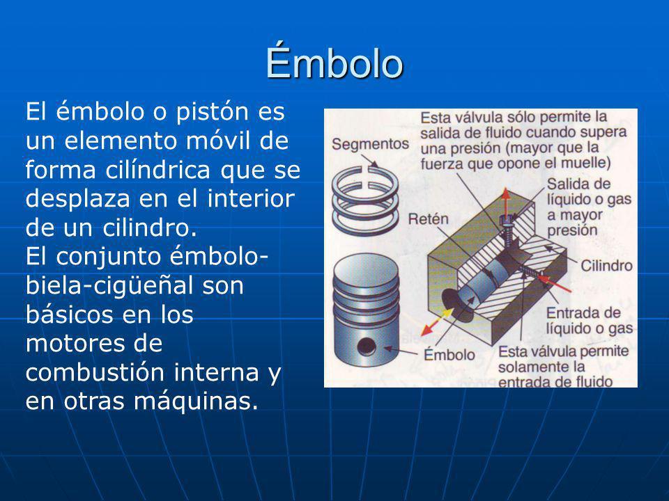 Émbolo El émbolo o pistón es un elemento móvil de forma cilíndrica que se desplaza en el interior de un cilindro. El conjunto émbolo- biela-cigüeñal s