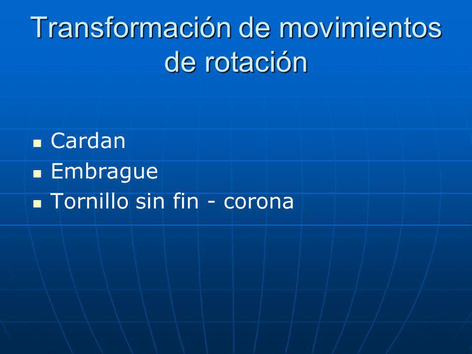 Transformación de movimientos de rotación Cardan Embrague Tornillo sin fin - corona