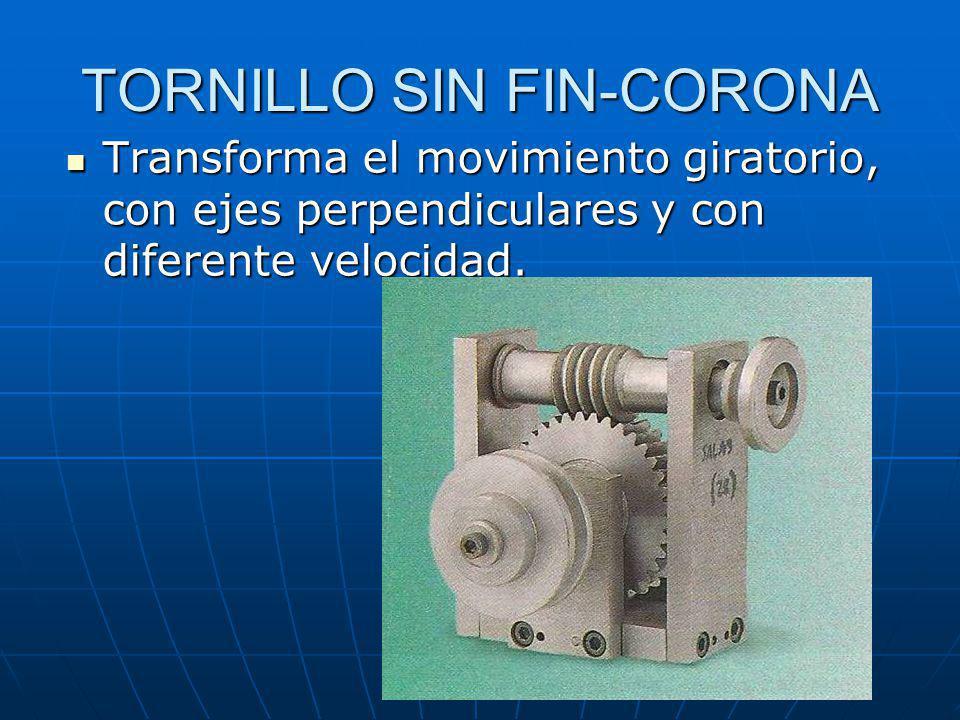 TORNILLO SIN FIN-CORONA Transforma el movimiento giratorio, con ejes perpendiculares y con diferente velocidad. Transforma el movimiento giratorio, co