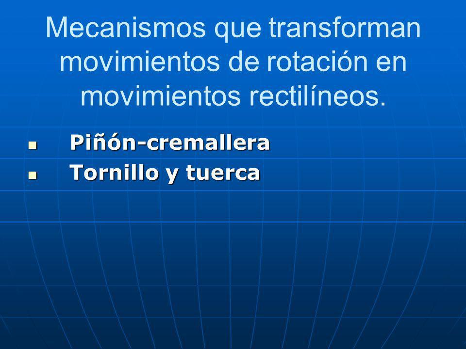 Piñón-cremallera Este sistema transforma el movimiento circular en rectilíneo por medio de dos elementos dentados: Un piñón que gira sobre su propio eje y una barra dentada denominada cremallera.