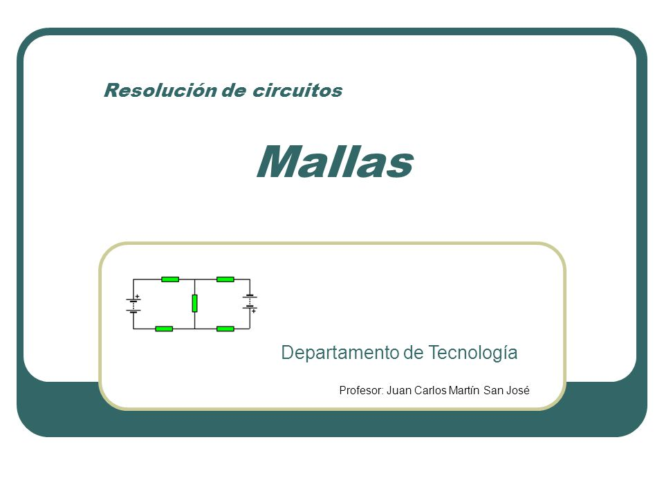 Resolución de circuitos Mallas Departamento de Tecnología Profesor: Juan Carlos Martín San José