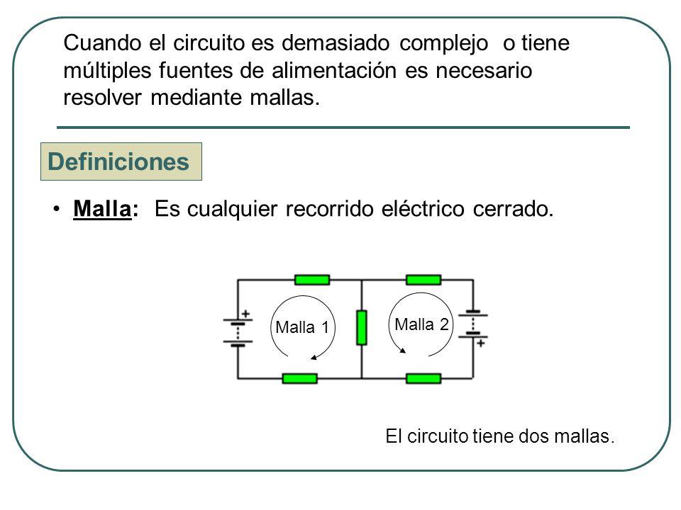 Definiciones Nudo: Punto del circuito donde confluyen tres o más intensidades.