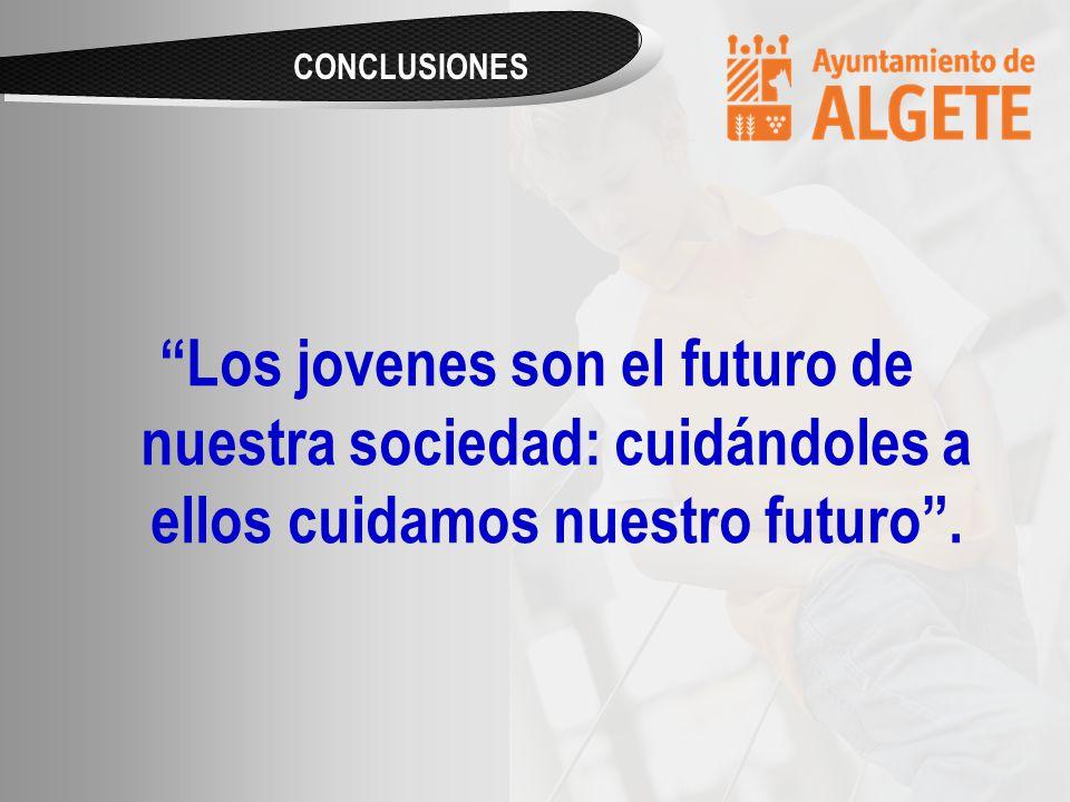 CONCLUSIONES Los jovenes son el futuro de nuestra sociedad: cuidándoles a ellos cuidamos nuestro futuro.