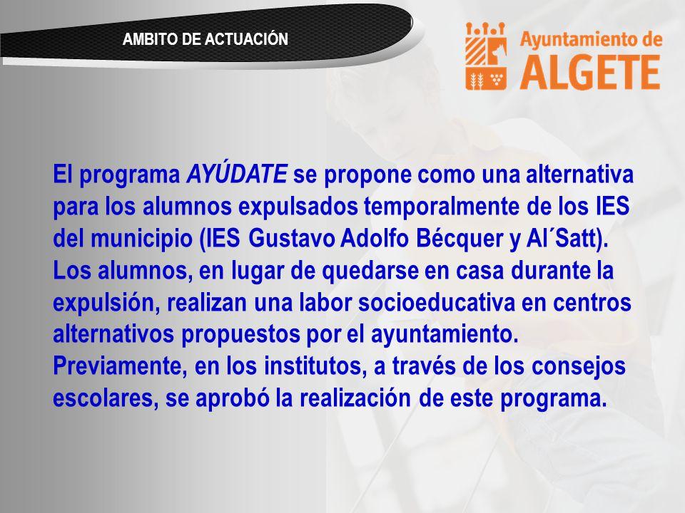 El programa AYÚDATE se propone como una alternativa para los alumnos expulsados temporalmente de los IES del municipio (IES Gustavo Adolfo Bécquer y Al´Satt).