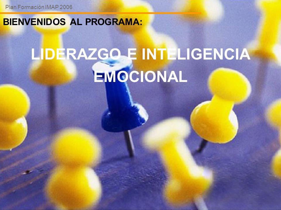 BIENVENIDOS AL PROGRAMA: LIDERAZGO E INTELIGENCIA EMOCIONAL Plan Formación IMAP 2006