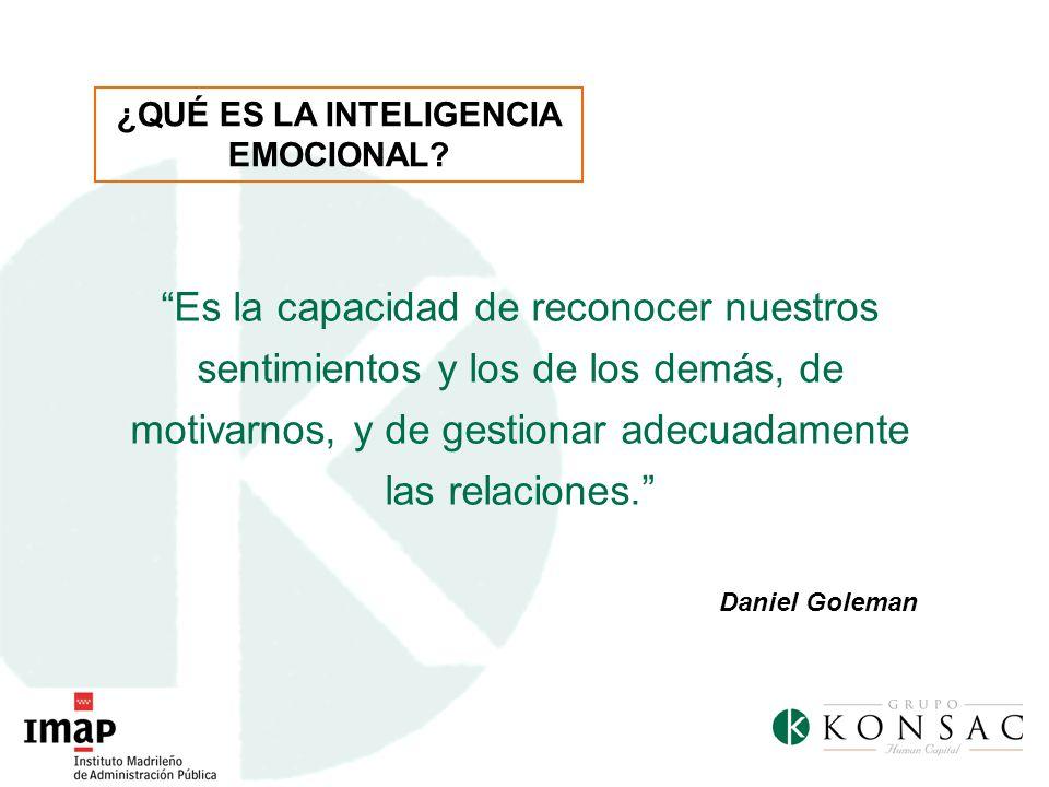 Es la capacidad de reconocer nuestros sentimientos y los de los demás, de motivarnos, y de gestionar adecuadamente las relaciones. Daniel Goleman ¿QUÉ
