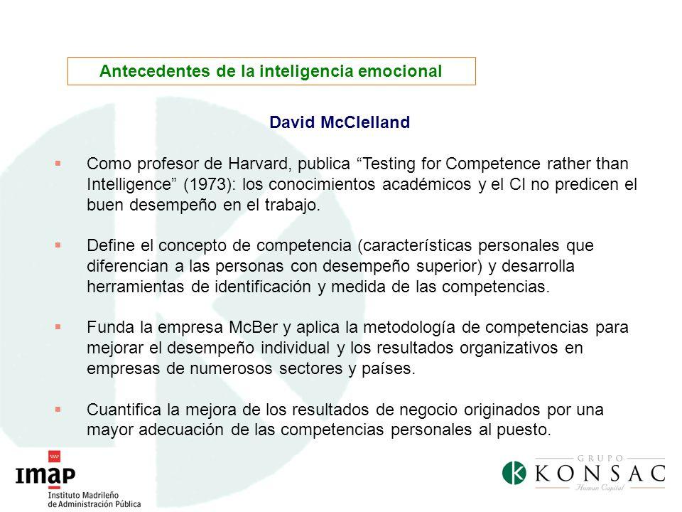 David McClelland Como profesor de Harvard, publica Testing for Competence rather than Intelligence (1973): los conocimientos académicos y el CI no pre
