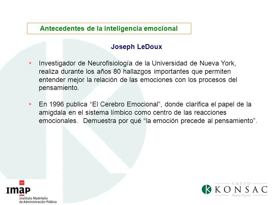 Joseph LeDoux Investigador de Neurofisiología de la Universidad de Nueva York, realiza durante los años 80 hallazgos importantes que permiten entender