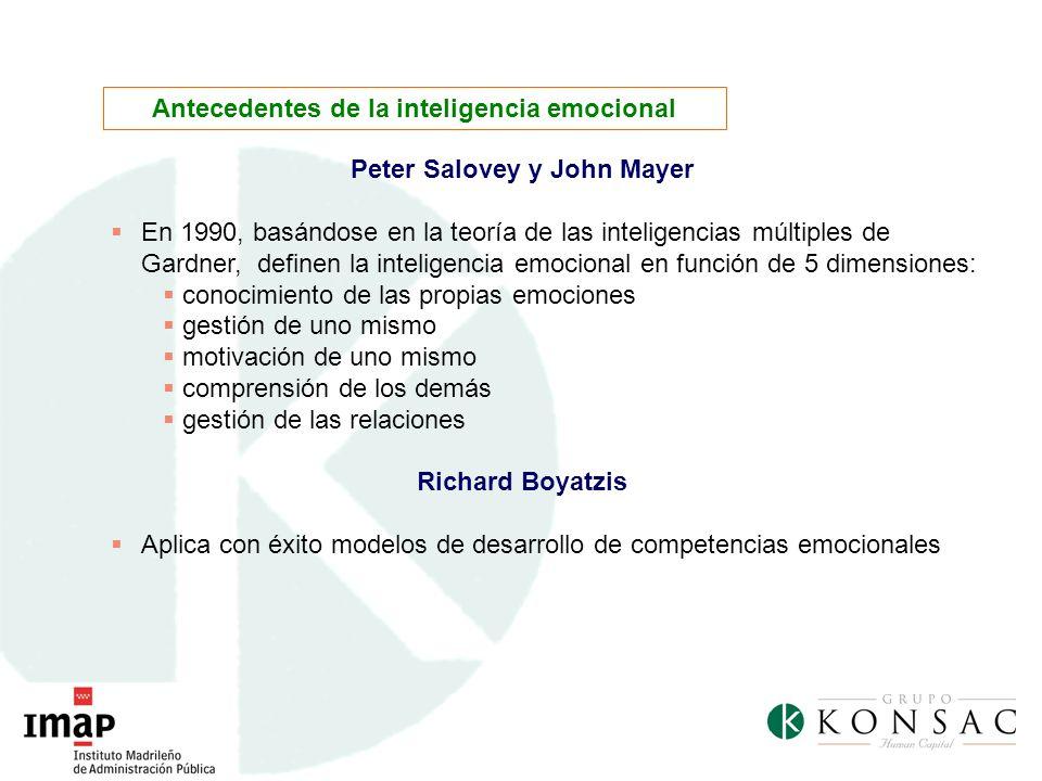Peter Salovey y John Mayer En 1990, basándose en la teoría de las inteligencias múltiples de Gardner, definen la inteligencia emocional en función de