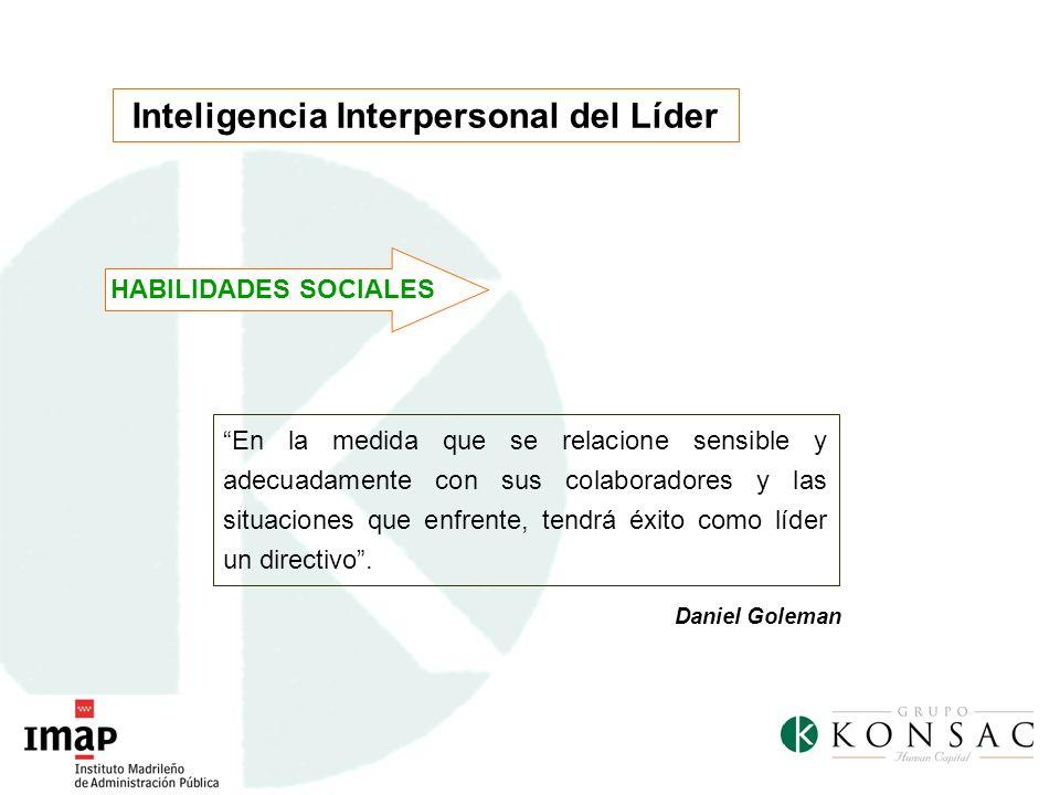 Inteligencia Interpersonal del Líder En la medida que se relacione sensible y adecuadamente con sus colaboradores y las situaciones que enfrente, tend