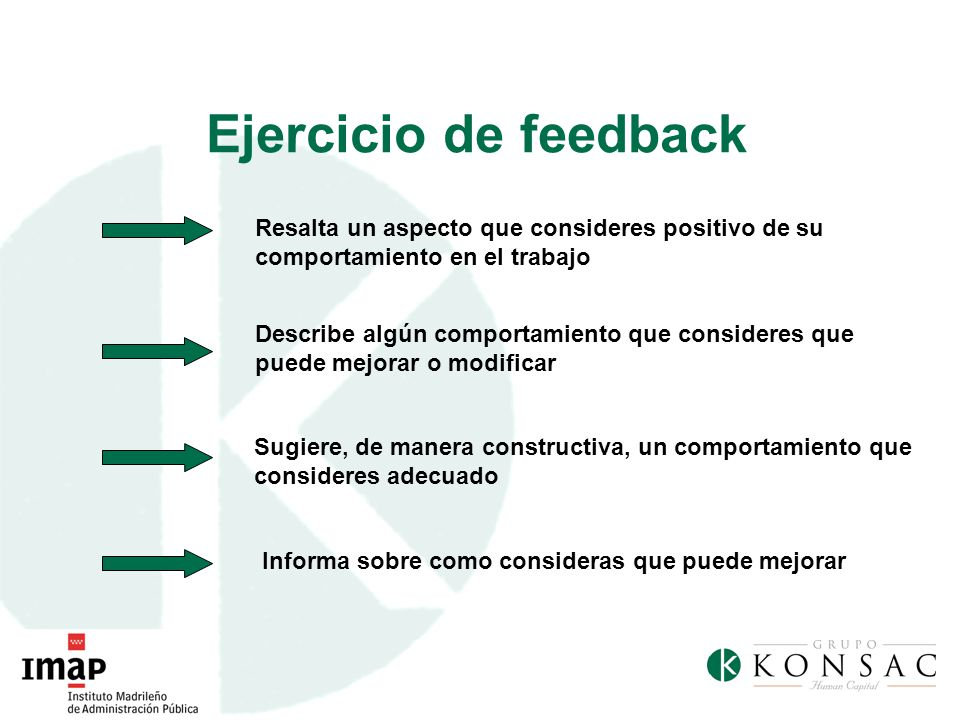 Ejercicio de feedback Resalta un aspecto que consideres positivo de su comportamiento en el trabajo Describe algún comportamiento que consideres que p