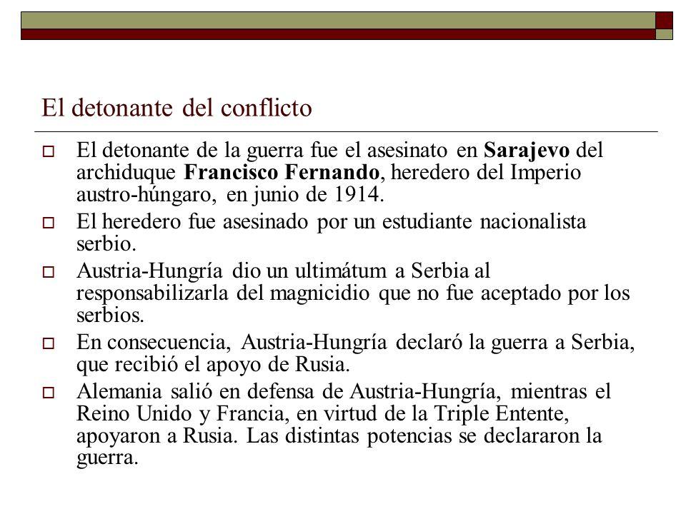 El detonante del conflicto El detonante de la guerra fue el asesinato en Sarajevo del archiduque Francisco Fernando, heredero del Imperio austro-húnga