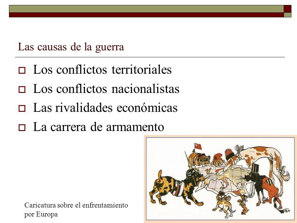 Las causas de la guerra Los conflictos territoriales Los conflictos nacionalistas Las rivalidades económicas La carrera de armamento Caricatura sobre