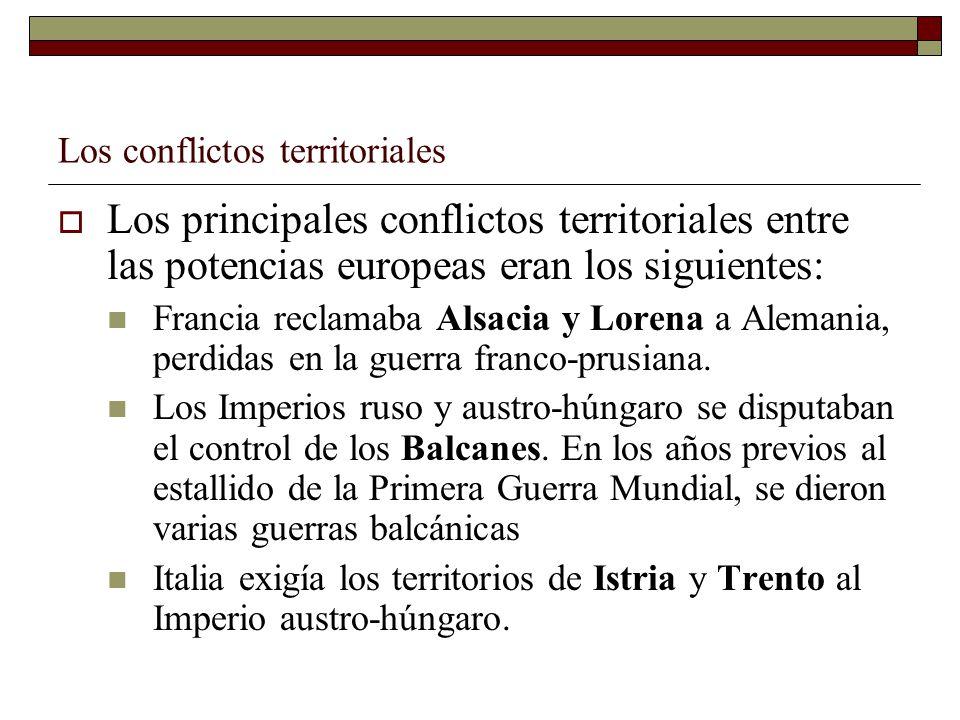 Los conflictos territoriales Los principales conflictos territoriales entre las potencias europeas eran los siguientes: Francia reclamaba Alsacia y Lo