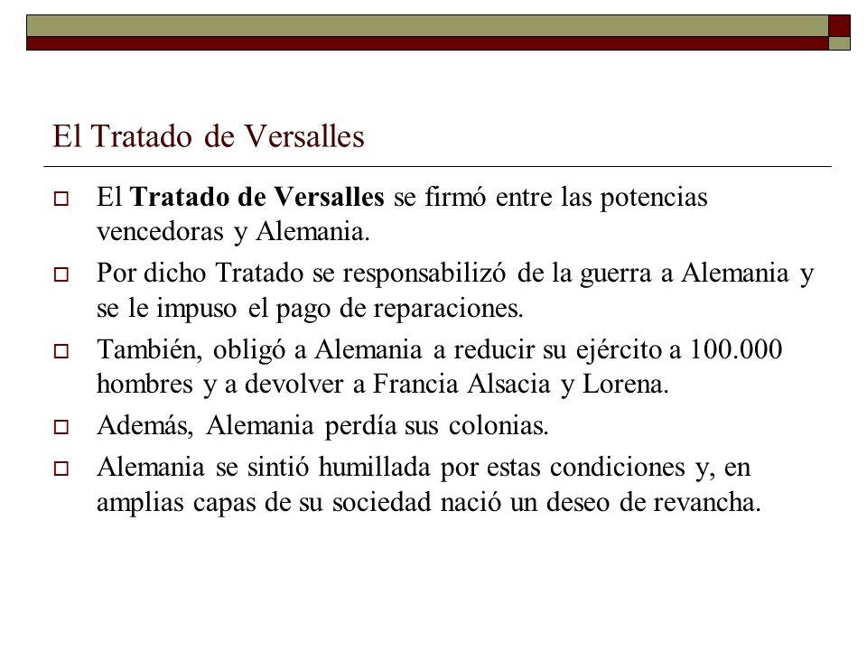 El Tratado de Versalles El Tratado de Versalles se firmó entre las potencias vencedoras y Alemania. Por dicho Tratado se responsabilizó de la guerra a