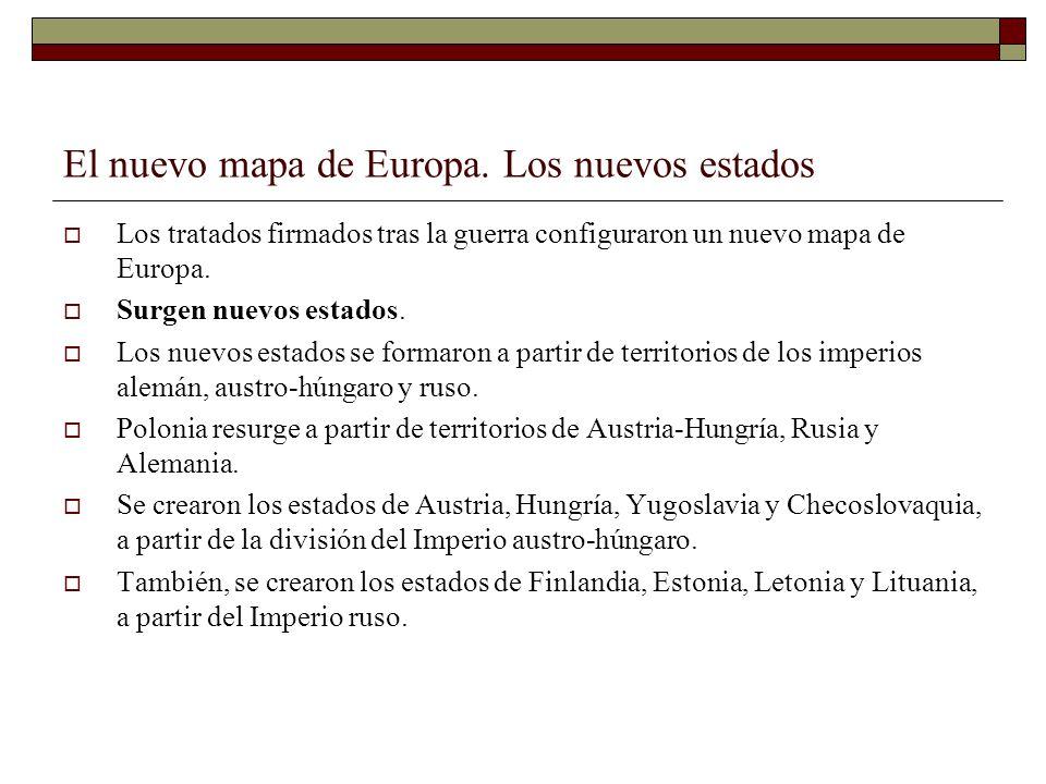 El nuevo mapa de Europa. Los nuevos estados Los tratados firmados tras la guerra configuraron un nuevo mapa de Europa. Surgen nuevos estados. Los nuev