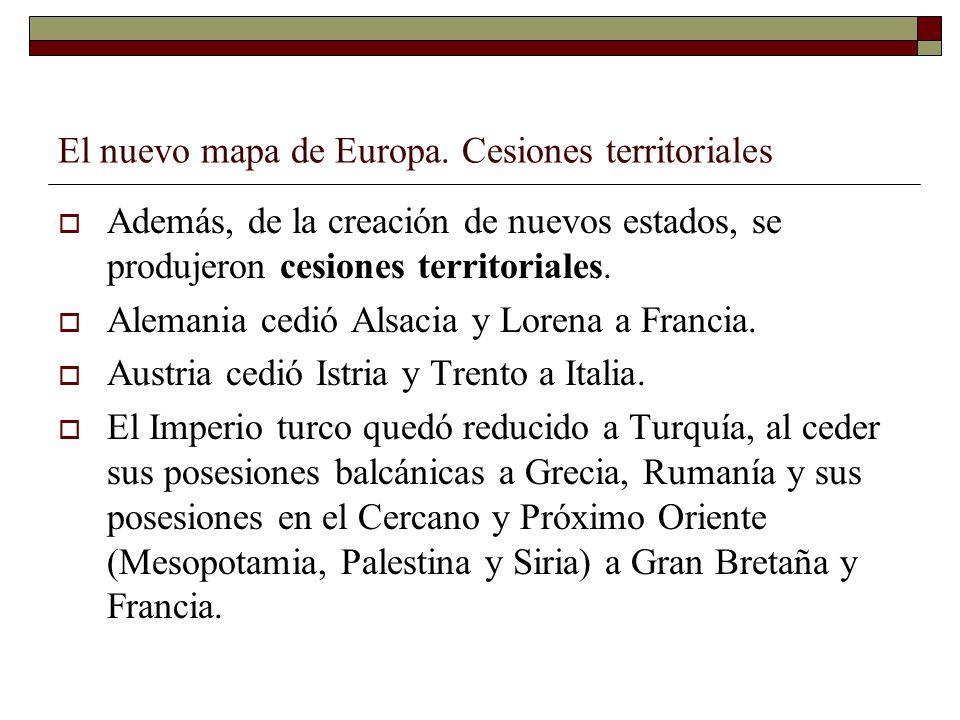 El nuevo mapa de Europa. Cesiones territoriales Además, de la creación de nuevos estados, se produjeron cesiones territoriales. Alemania cedió Alsacia