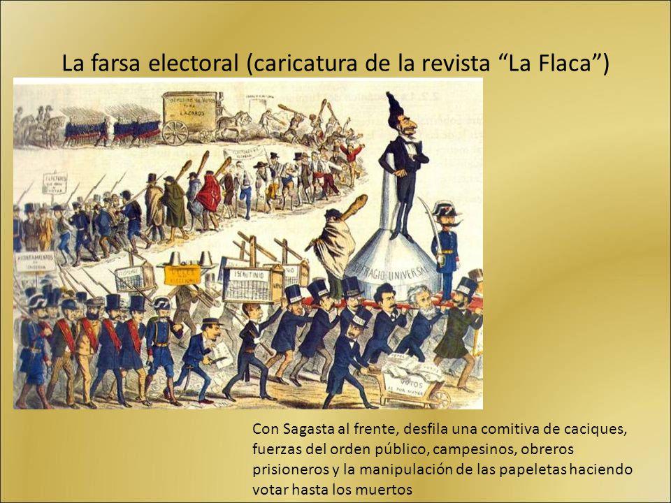 La farsa electoral (caricatura de la revista La Flaca) Con Sagasta al frente, desfila una comitiva de caciques, fuerzas del orden público, campesinos,