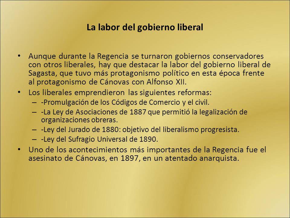 La labor del gobierno liberal Aunque durante la Regencia se turnaron gobiernos conservadores con otros liberales, hay que destacar la labor del gobier