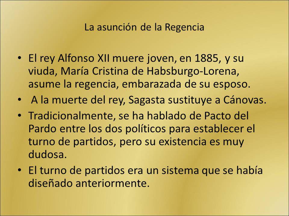 La asunción de la Regencia El rey Alfonso XII muere joven, en 1885, y su viuda, María Cristina de Habsburgo-Lorena, asume la regencia, embarazada de s