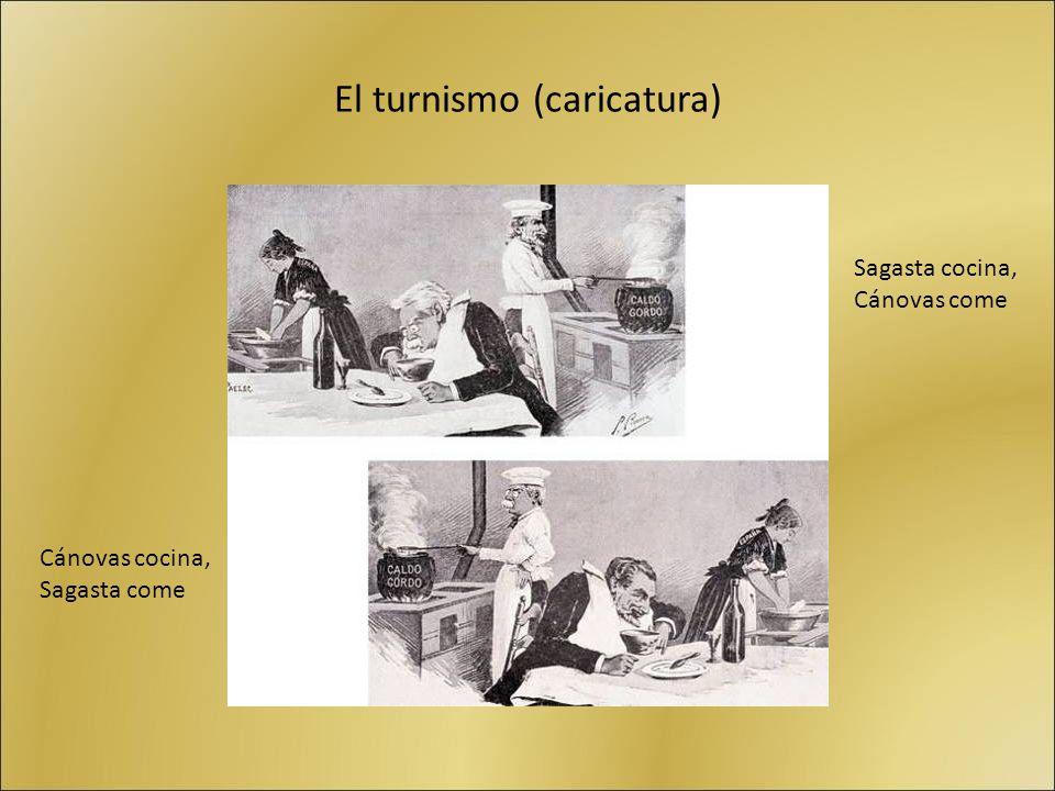 El turnismo (caricatura) Sagasta cocina, Cánovas come Cánovas cocina, Sagasta come