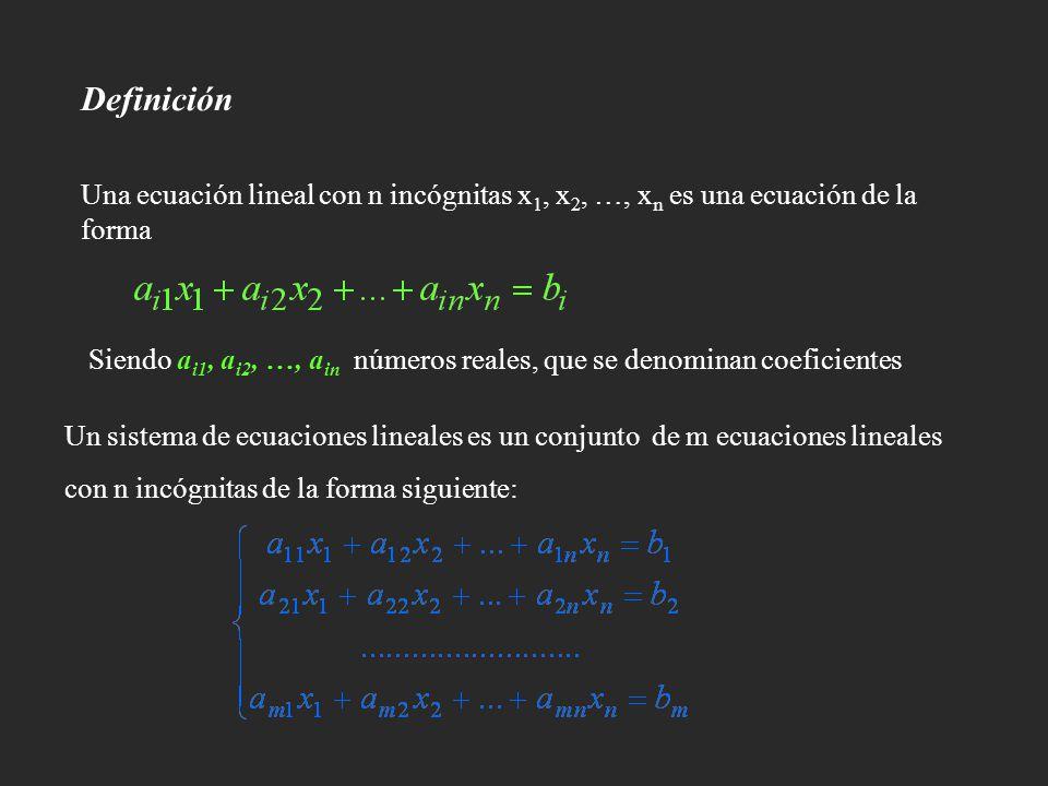 Definición Una ecuación lineal con n incógnitas x 1, x 2, …, x n es una ecuación de la forma Un sistema de ecuaciones lineales es un conjunto de m ecu