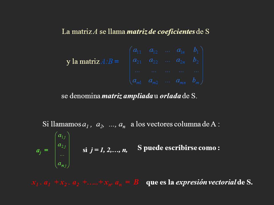 se denomina matriz ampliada u orlada de S. Si llamamos a 1, a 2, …, a n a los vectores columna de A : La matriz A se llama matriz de coeficientes de S