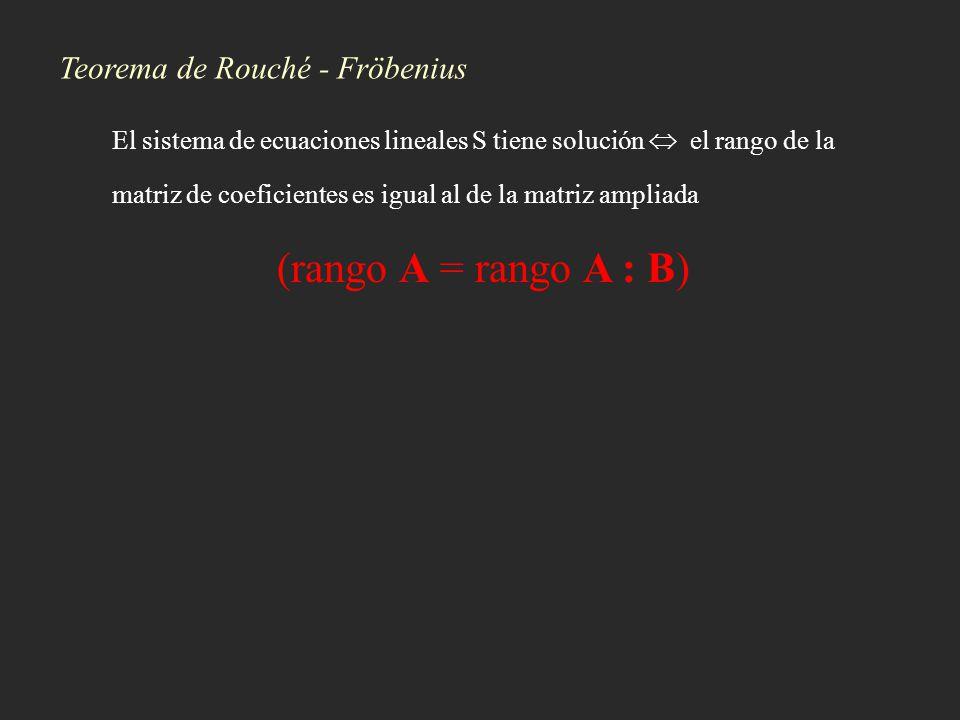 Teorema de Rouché - Fröbenius El sistema de ecuaciones lineales S tiene solución el rango de la matriz de coeficientes es igual al de la matriz amplia