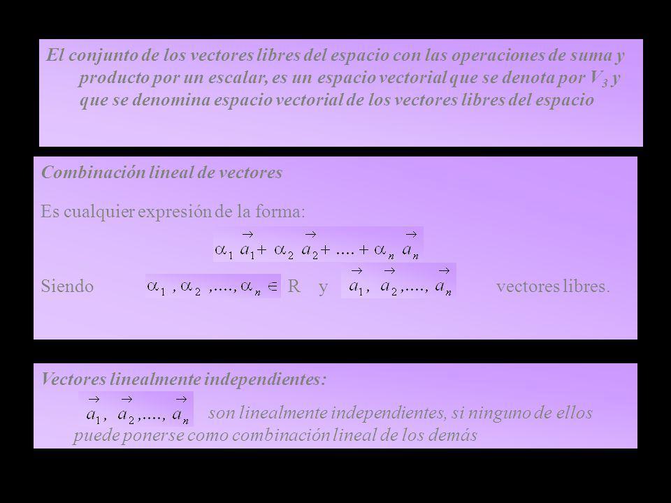 El conjunto de los vectores libres del espacio con las operaciones de suma y producto por un escalar, es un espacio vectorial que se denota por V 3 y que se denomina espacio vectorial de los vectores libres del espacio Combinación lineal de vectores Es cualquier expresión de la forma: Siendo R y vectores libres.